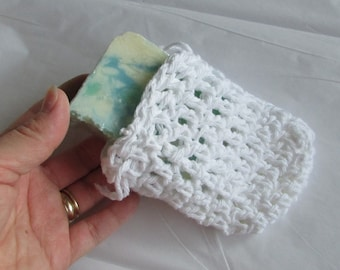Small White Cotton Hanging Soap Saver (Soap Bar Sold Separately)