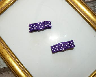 Pair of mini-barrettes anti-slip purple dots