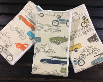 Vintage cars baby burp cloths in Retro Rides on Oso Cozy diapers