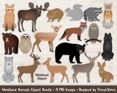 Woodland Animals Clipart Bundle Forest Animal Graphics Woodland Wildlife Scrapbooking Moose Deer Fox Wolf Bear Owl Digital Animals Clip Art