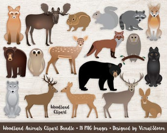 Woodland Animals Clipart Bundle Forest Animal Graphics Woodland Wildlife Scrapbooking Moose Deer Fox Wolf Bear Owl Digital Animals Clip Art