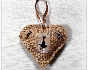 Decorative hanging heart, cats tribe, burlap