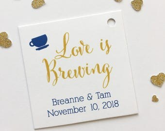 Love Is Brewing Favor Tags, Tea or Coffee Cup Wedding Favor Tags, Wedding Hang Tags  (SQ-095)