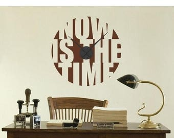 20% OFF Summer Sale Now is the Time wall decal clock, sticker, mural, vinyl wall art