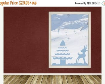 20% OFF Summer Sale Reindeer and Tree window wall decal, sticker, mural, vinyl wall art