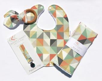 Baby Bib, Burp Cloth, Teether, and Paci Clip Set - Modern Geometric Baby Gift Set - Ready to Ship Baby Shower Gift Set - Handmade Baby Gift