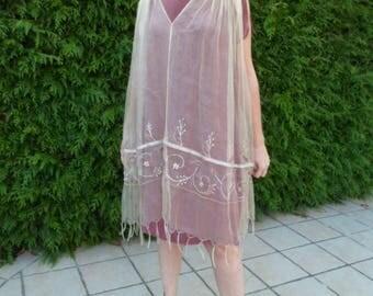 DRESS in evening 2 in 1 natural silk dress