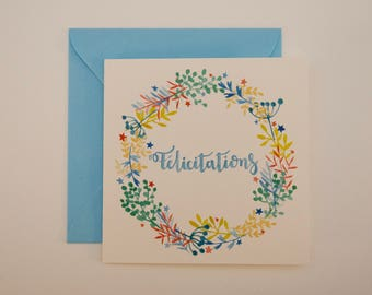 Congratulations card for baby boy announcement of birth, baptism invitation, watercolor card