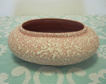 Vintage Pink and white Short Oval Planter
