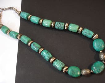 Natural Turquoise Nepalese Necklace Tibetan Collectible Necklace  Ethnic Genuine Turquoise & Tibetan Silver Repousse  Beads Jewelry