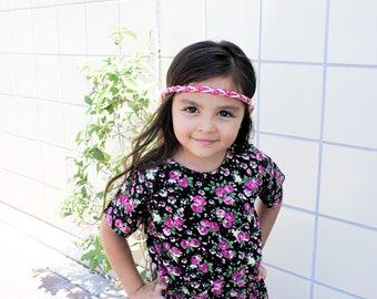 Fuchsia  headband - gold accessories- braided headband -  headband - little girl headband - boho chic - chic headband - hippie headband