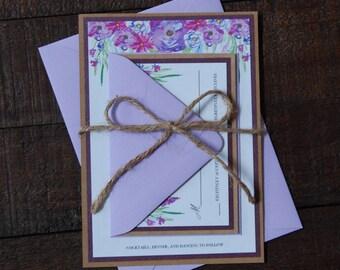 Purple Floral Wedding Invitation, Purple Wedding Invitation, Rustic Wedding Invitation, Floral Wedding Invitation, Barn Wedding Invitation