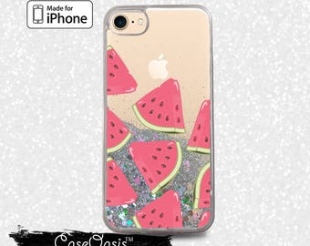 Watermelon Slice Pattern Pop Art Summer New Liquid Glitter Sparkle Case iPhone 6 and 6s iPhone 6 Plus and 6s Plus iPhone 7 and iPhone 7 Plus