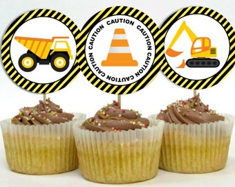 INSTANT Construction Theme Cupcake Topper Dump Truck Caution Construction Big Rig Theme