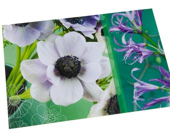 Laminated placemat white anemones and purple flowers