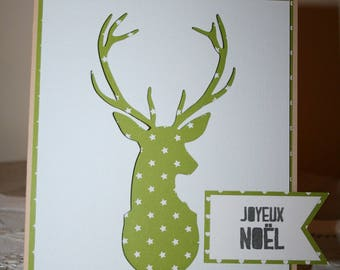 Christmas card with deer head