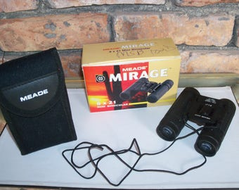 Vintage Meade Mirage  8 x 21 Mini Binocular with Neck Strap, Soft Case and Original Box