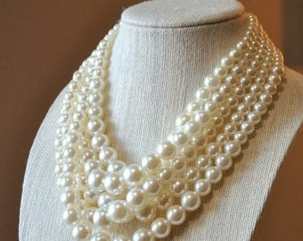 Multi strand pearls necklace, bridal jewelry set, bridesmaids gift, handmade gift idea.