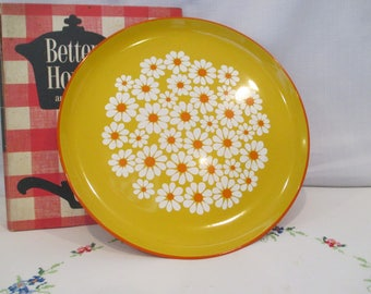 Vintage Flower Power MDO Japan Yellow and Orange Daisies Lacquer Tray