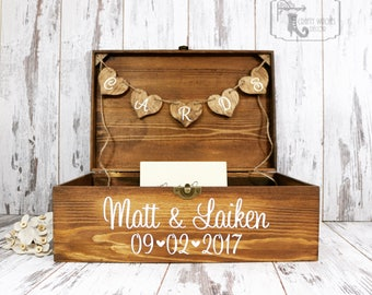 Personalized Stained Wedding Card Box, Personalized Wedding Card Chest, Rustic Card Placement Box, Stained Keepsake Box, Wedding Card Box