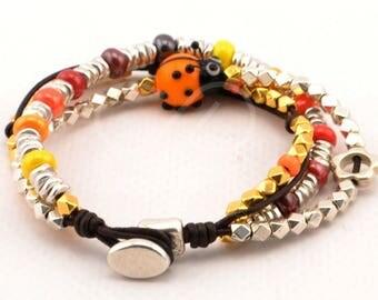 ladybug bracelet, czech beads bracelet, women leather bracelet, boho bracelet, custom jewelry, beaded bracelet, gifts for her, lady bug