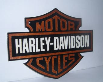 Harley-Davidson Motorcycles Logo Wood-Sign.Engraved. Gift.