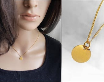 Tiny Gold Plated Blank Pendant Necklace, Round Gold Plated Charm & Chain, Sterling Silver Gold Plated Jewelry, Small Disc Necklace
