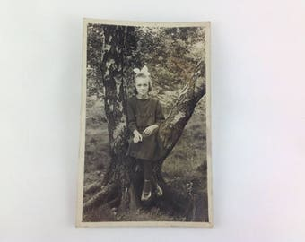 Old Postcard Little Girl Sat in a Tree 1920s Vintage Fashion Real Photo Unposted