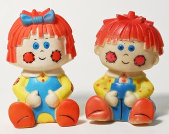 Vintage Stahlwood 1977 Bobbs Merrill Raggedy Ann & Andy Squeak Toys