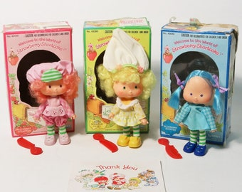 Lot of 3 Vtg Strawberry Shortcake Dolls w/ Pets & Boxes - Kenner 1980 Raspberry