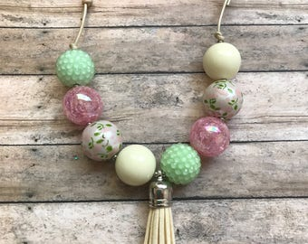 RTS Soft Floral Adjustable Chunky Bead Necklace