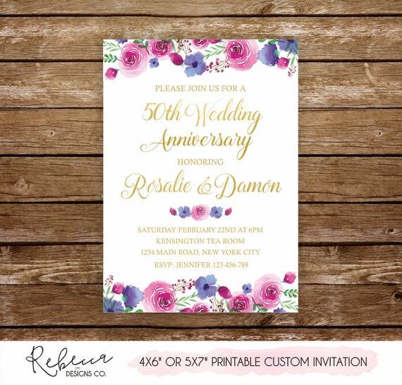 wedding anniversary invitation gold anniversary party 50th wedding