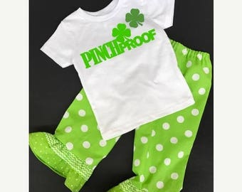 20% OFF St Patrick's Day Toddler Girl Pinch Proof Shirt and Ruffle Pants set