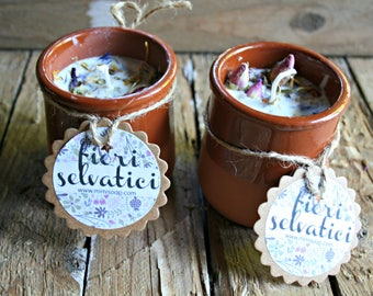 soy wax candles in glass of terracotta-vegetable candle-wild flowers-