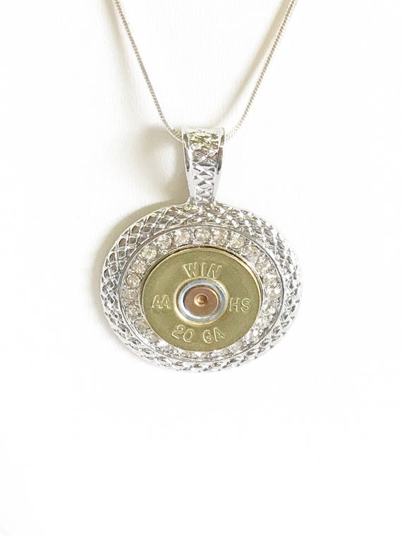 Shotgun Shell Necklace, Clear Crystal 20 Gauge Pendant Necklace, Gift For Her, Shooting Sports Jewelry Gift, Southwestern Style Wife Jewelry