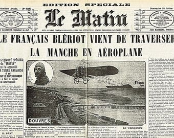 Placemat laminated old newspapers Blériot
