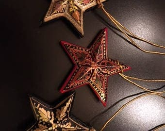 hand-Painted Vintage Paper Mache Star Ornaments