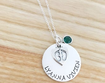 Mother's Day gift- hand stamped jewelry necklace - gift for new mom  - personalized mom necklace - sterling silver jewelry - baby feet