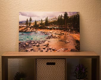 20 x 30 in Metal Photo Of A Beach In Lake Tahoe