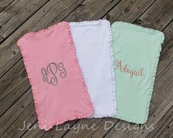 Monogrammed Burp Cloths- set of 3   Monogrammed Burp Cloths with Ruffles, Baby girl Burp Cloths, Monogrammed Baby Gift
