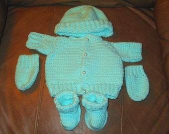 Newborn Crochet Mittens, Booties, Hat & Sweater