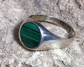 malachite ring • dainty ring • minimalist ring • MCM • Sterling Silver • Size 7