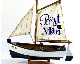 Personalised Best Man gift, wooden model sail boat, fishing boat, 22cm, nautical, beach theme
