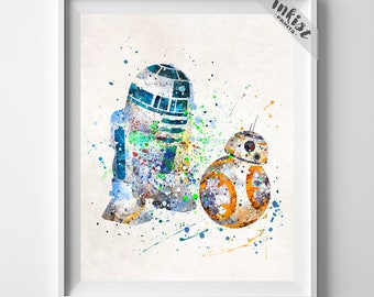 Star Wars Print, BB8 Art, R2D2 Poster, Star Wars Poster, BB8 Poster, R2D2 Print, Watercolor Art, BB8 Print, Baby Shower Gift, Dorm Art