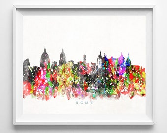 Rome Skyline, Print, Italian Wall Art, Watercolor Painting, Italy Poster, Cityscape, Living Room Decor, City Skyline, Valentines Day Gift