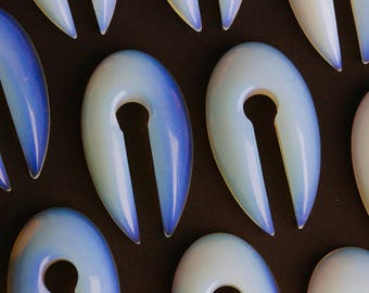 Opalite Keyhole Ear Weights (Pair) - H002