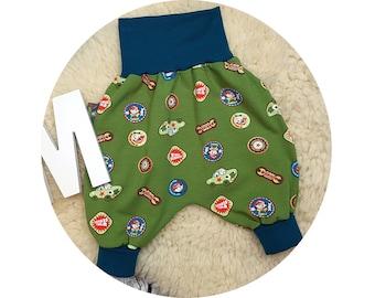 Mitwachsen trousers, harem trousers, harem pants, pants, baby pants, baby, car, cars, mechanic, screwdrivers, car, cars, green