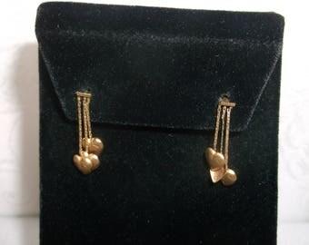 Vintage Estate Jewelry - Fine Jewelry 14K Solid Yellow Gold Dangle Earrings with 3 Heart Dangles, Pierced Sweetheart Earrings, Beautiful