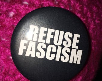 Pink Pussycat hat- Refuse Fascism- pin included. Adult size, ready to ship!