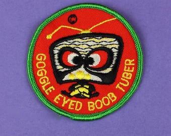 Google Eyed Boob Tuber TV Addict Vintage 1970s NOS Patch